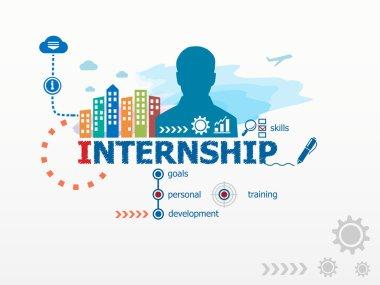 Internship concept and business man.