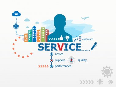 Service concept and business man.