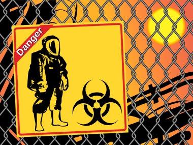 Biohazard warning on yellow sign. Danger