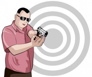 Man shoots from pistol stock vector