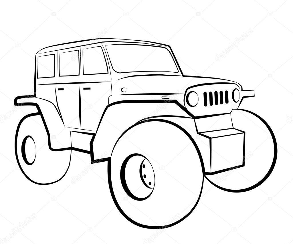 Carro del monstruo. Dibujos animados de vehículo 4 x 4 — Vector de ...