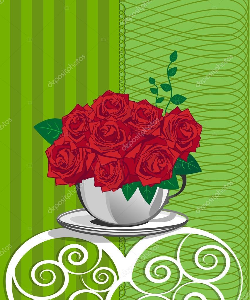 Rosa roja en una taza blanca. Diseño de tarjeta del feliz cumpleaños ...