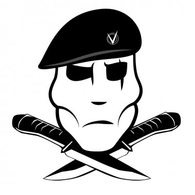 Soldier in a beret and two knife stock vector