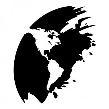 Americas map vector black icon