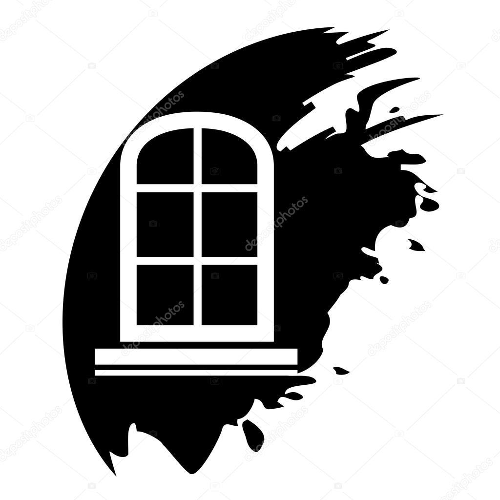 Ch ssis de fen tre ic ne vector noir isol image for Chassis de fenetre