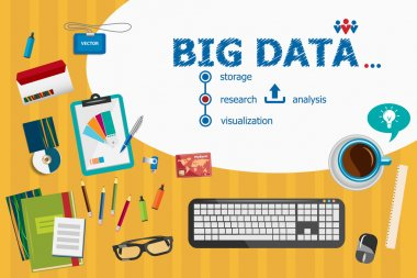 Big Data and flat design illustration concepts for business anal