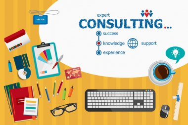 Consulting design and flat design illustration concepts for busi