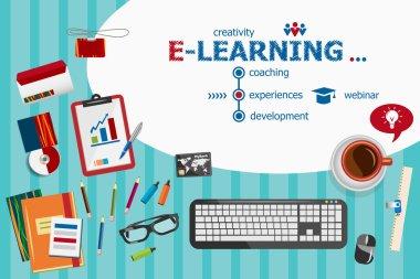 Online e-learning design and flat design illustration concepts f