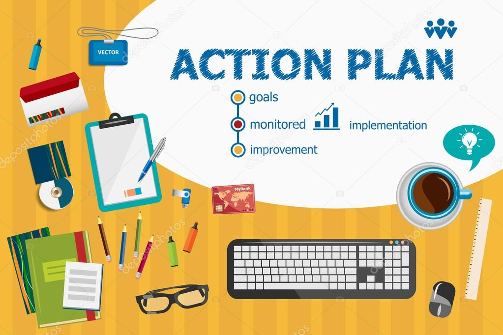 action plan and flat design illustration concepts for business a