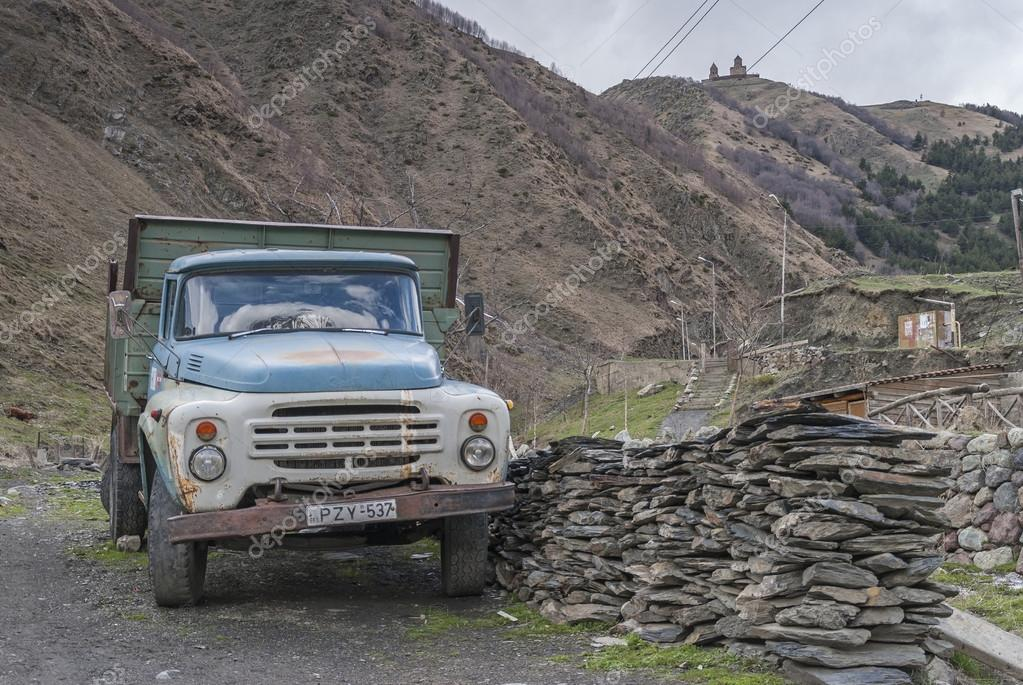 Stepantsminda, Georgia - may 4, 2015: Soviet truck ZIL 130 in the village