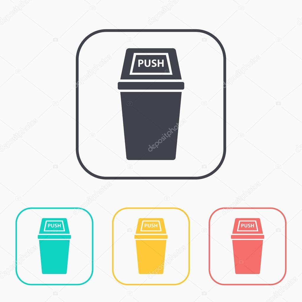 Symbol von Trash farbig Satz gestalten — Stockvektor ...