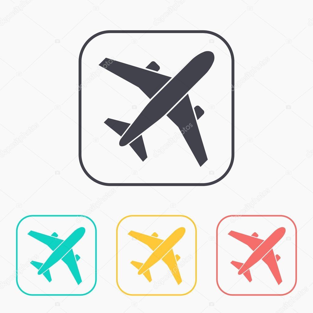 Conjunto de iconos de avión vector color — Vector de stock ...