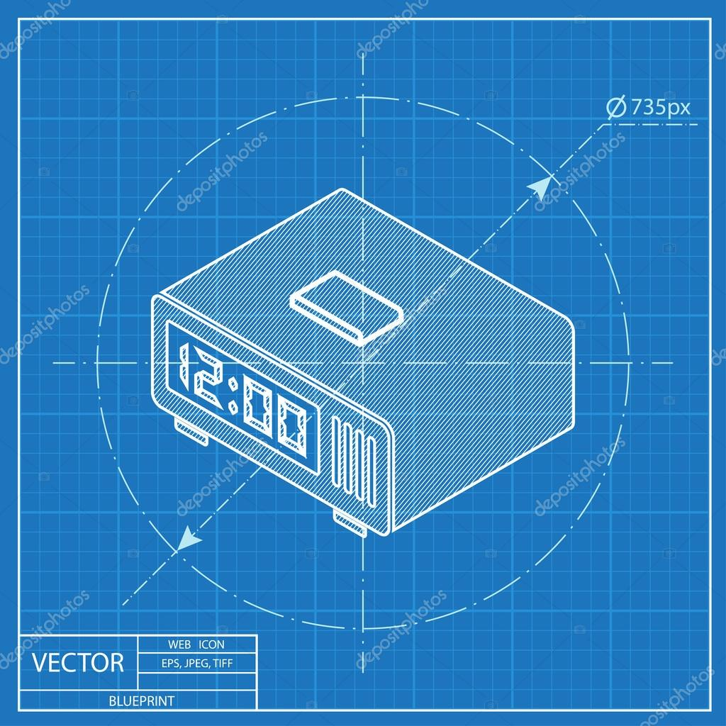 Digital alarm clock isometric 3d blueprint icon stock vector digital alarm clock isometric 3d blueprint icon stock vector malvernweather Image collections