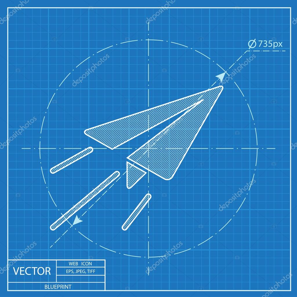 Paper plane sign airplane symbol travel vector blueprint icon paper plane sign airplane symbol travel vector blueprint icon vector by iconcraftstudio malvernweather Choice Image