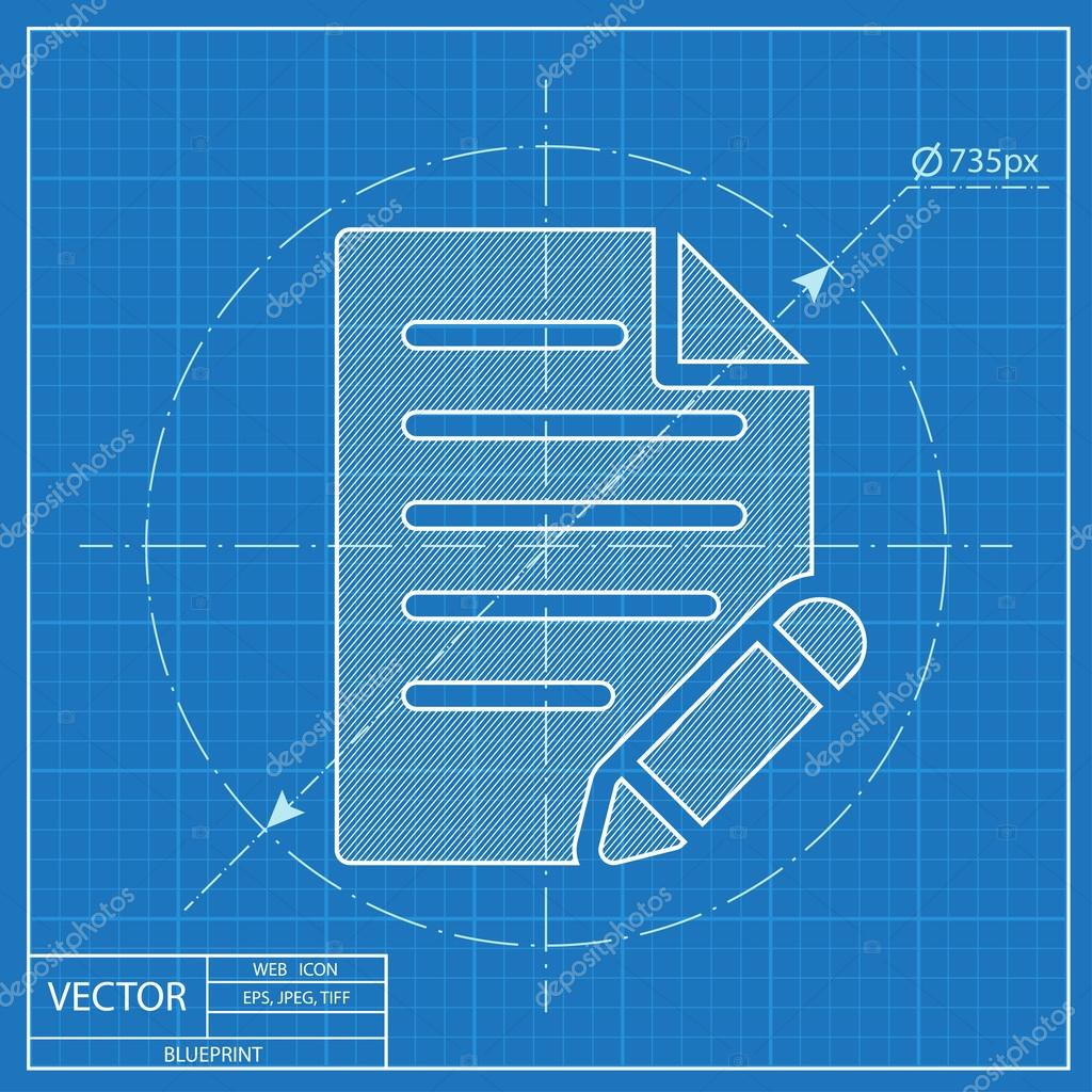 Document with pen vector blueprint icon stock vector document with pen vector blueprint icon stock vector malvernweather Choice Image