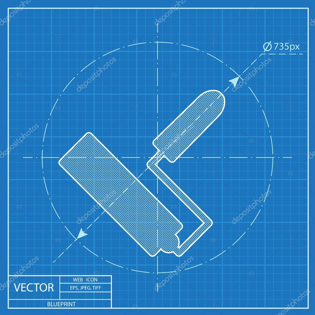 Paint roll vector blueprint icon stock vector iconcraftstudio paint roll vector blueprint icon stock vector malvernweather