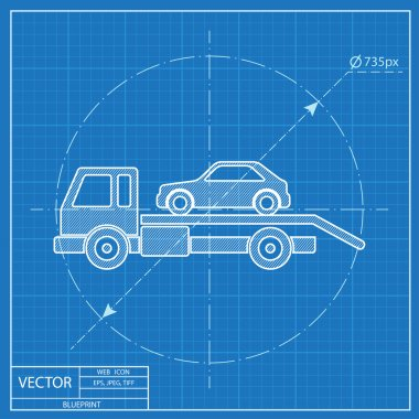 Tow car evacuation blueprint icon