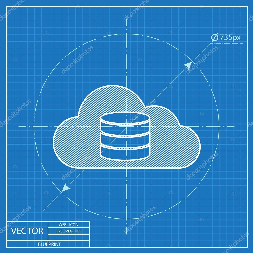 Cloud computing blueprint icon vector illustration stock vector cloud computing blueprint icon vector illustration stock vector malvernweather Choice Image