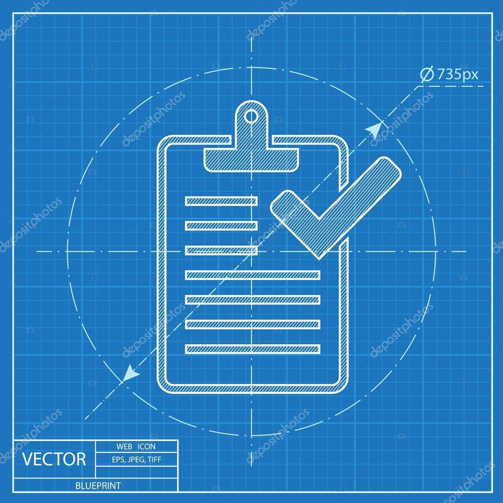 Zwischenablage mit Checkliste-Blaupause-Symbol — Stockvektor ...