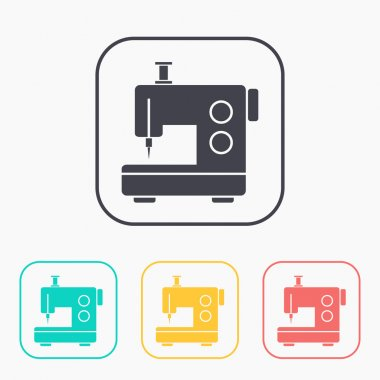 sewing machine vector color icon set