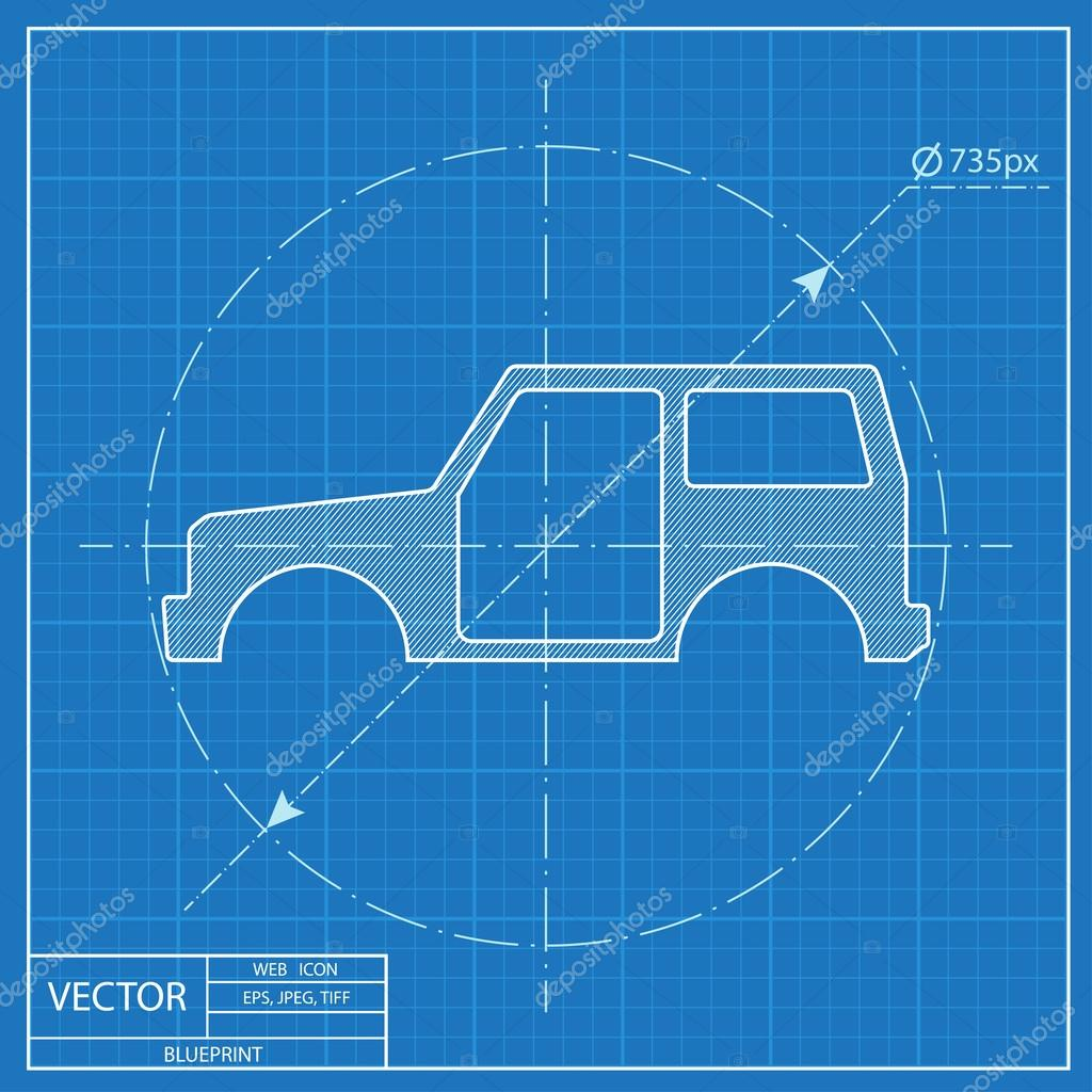 Icon of car body blueprint style stock vector icon of car body blueprint style stock vector malvernweather Images