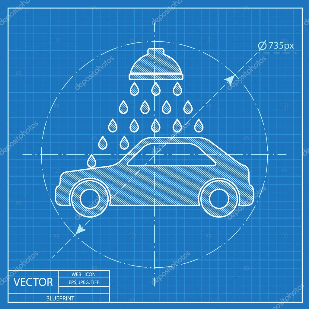 Vector icon of car wash blueprint style stock vector vector icon of car wash blueprint style stock vector malvernweather Images