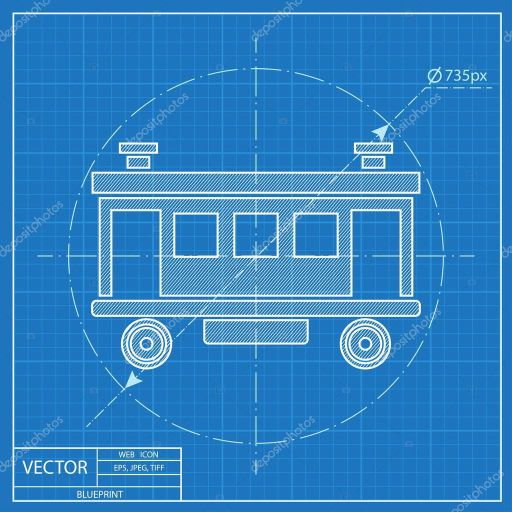 Eisenbahn-Auto-Vektor-Symbol. Blaupause-Stil — Stockvektor ...