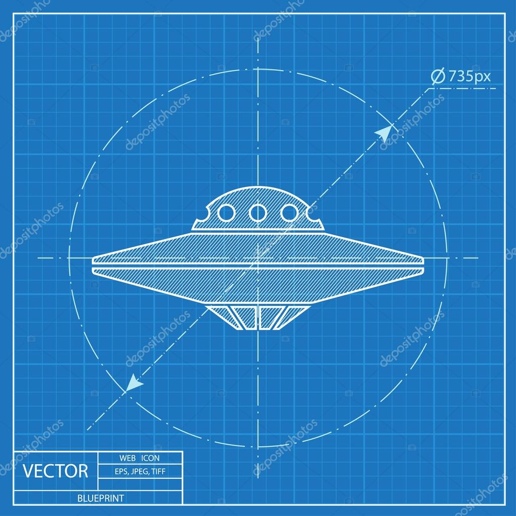 UFO-fliegende Untertasse-Symbol. Blaupause-Stil — Stockvektor ...