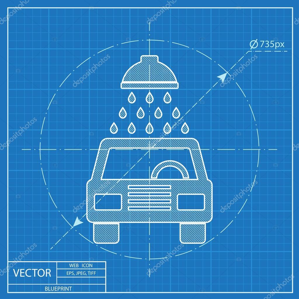 Blueprint icon of car wash stock vector iconcraftstudio 107611752 blueprint icon of car wash stock vector malvernweather Gallery