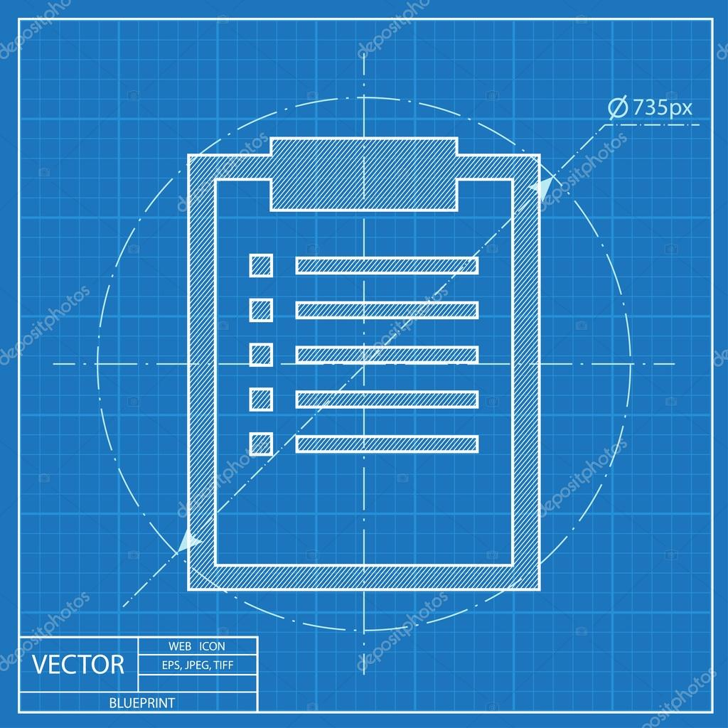Blueprint icon of clipboard with document stock vector blueprint icon of clipboard with document stock vector malvernweather Choice Image