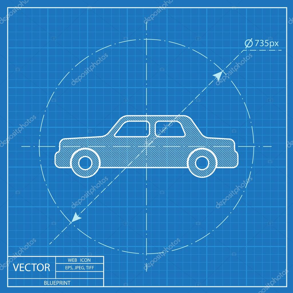 Blaupause-Symbol des Autos — Stockvektor © Icon_Craft_Studio #108925138