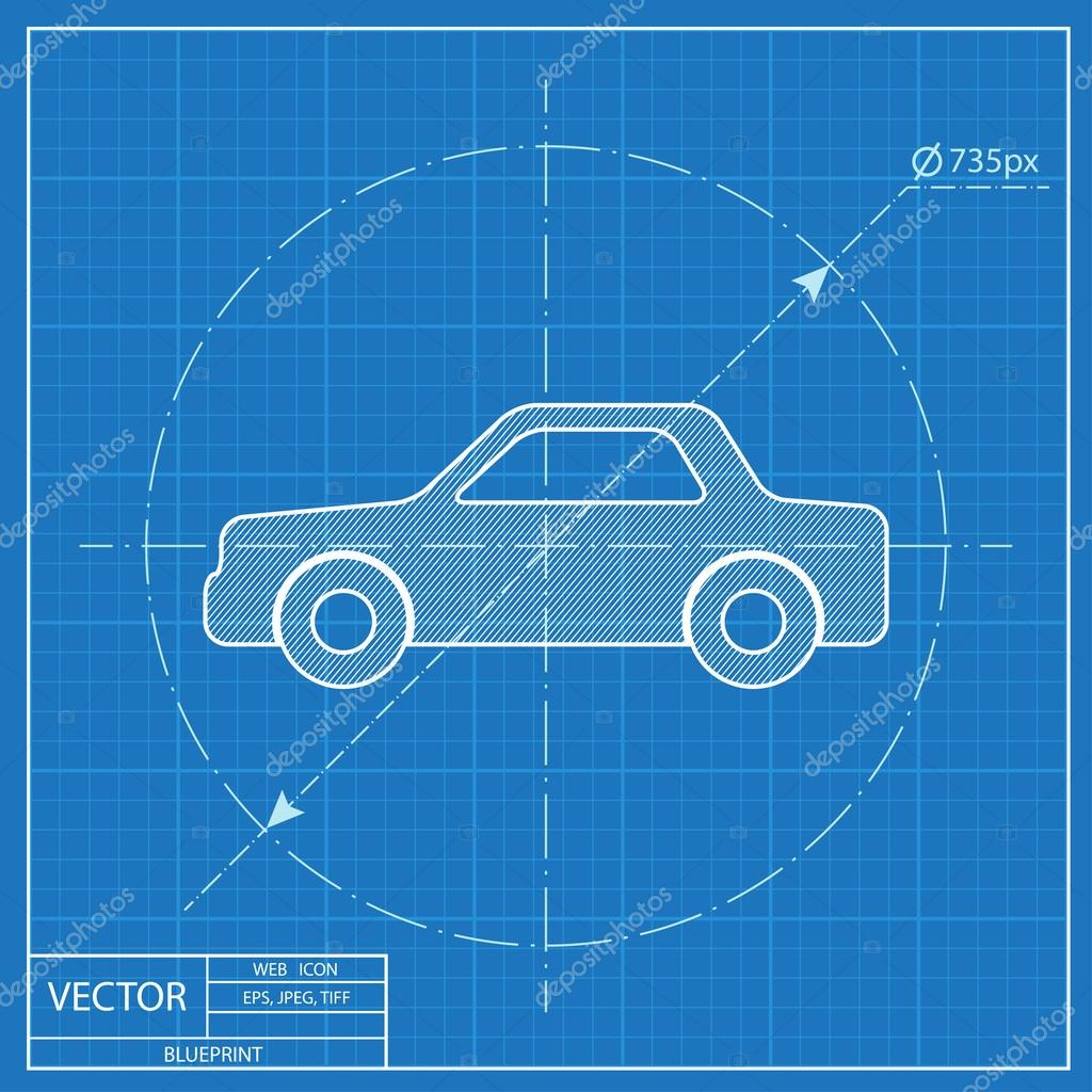 Blueprint icon of car stock vector iconcraftstudio 108925200 blueprint icon of car stock vector malvernweather Images