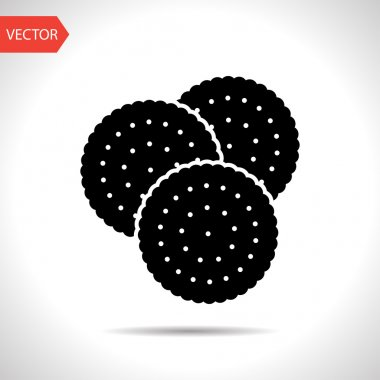 Vector three biscuits icon. Food icon. Eps10