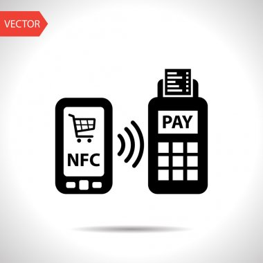 nfc payment from mobile phone icon