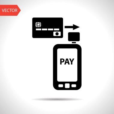 Mobile payment. Credit card reader on smartphone scanning a credit card