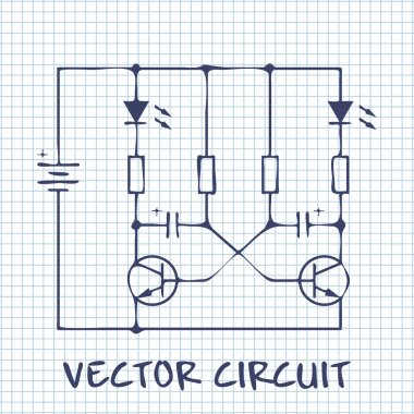electronic circuit scheme on white squared paper sheet background