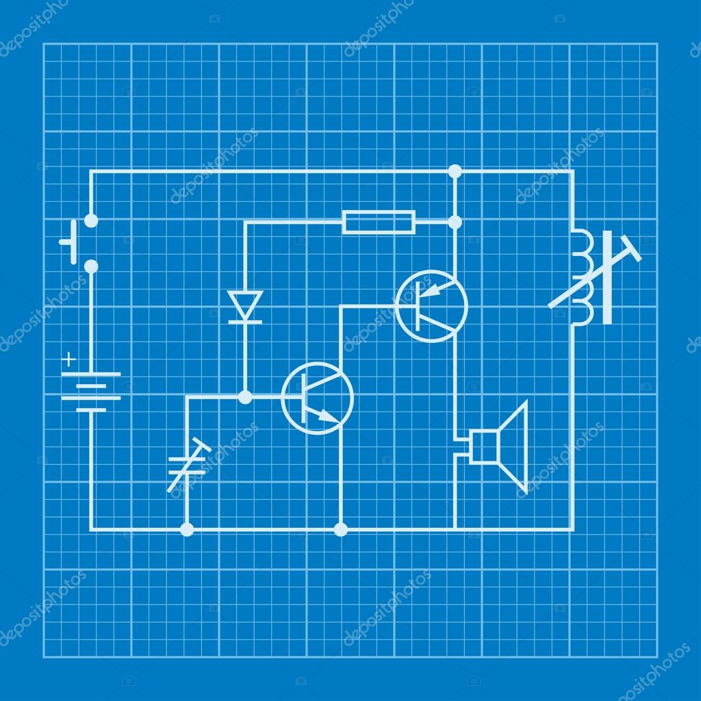 electronic circuit scheme blueprint background — Stock Vector ...