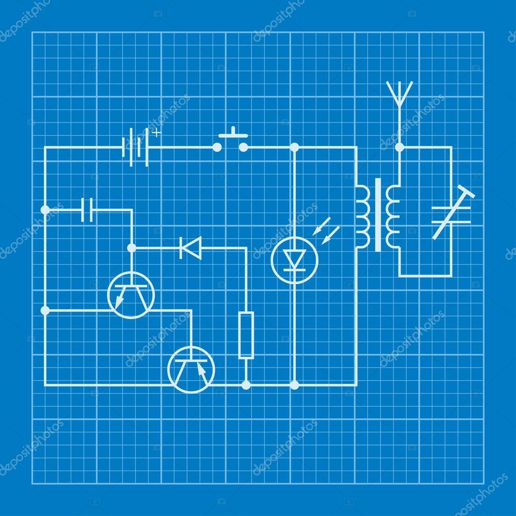 electronic circuit scheme blueprint background — Stock Vector ...