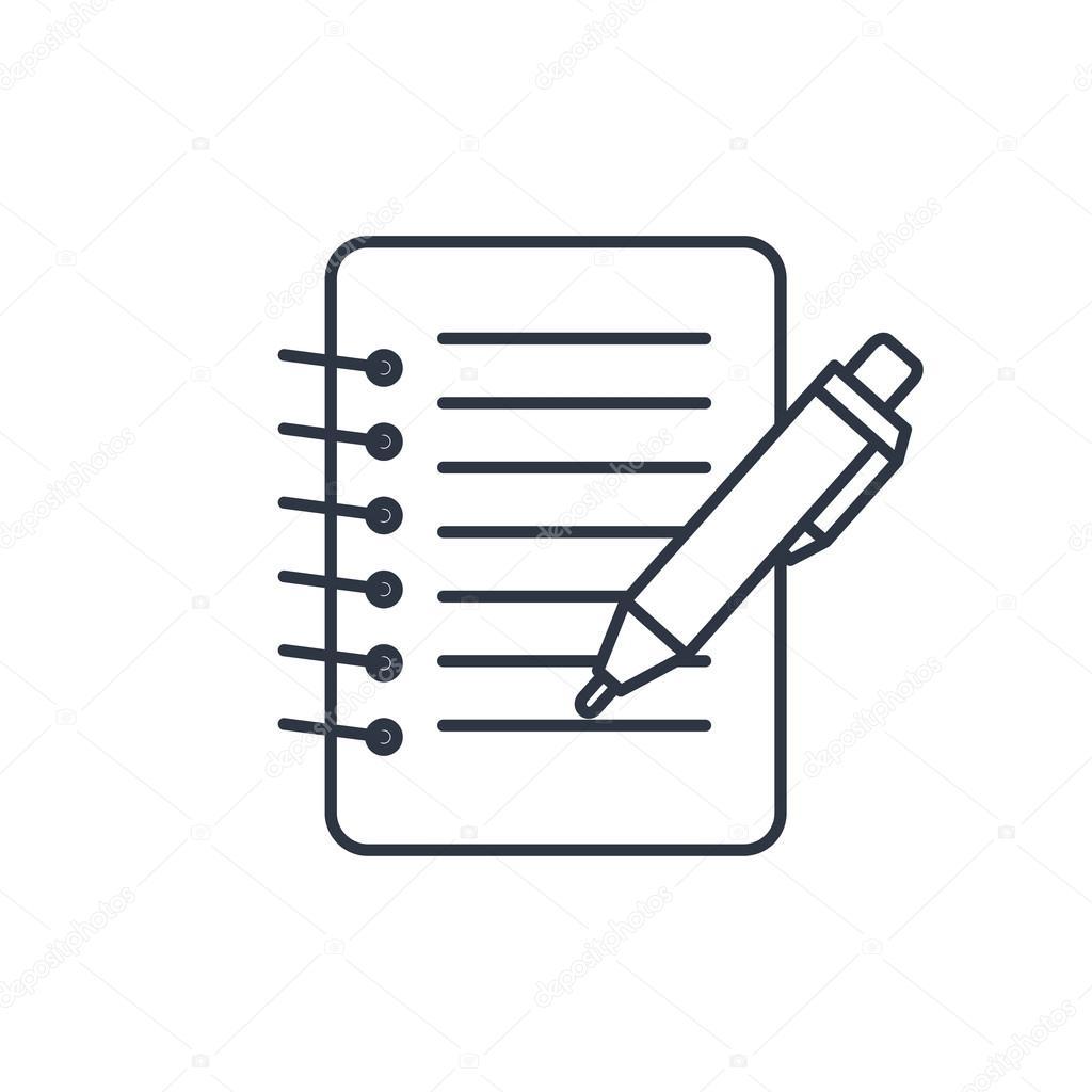 Notizbuch mit Stift-Gliederung-Symbol — Stockvektor ...