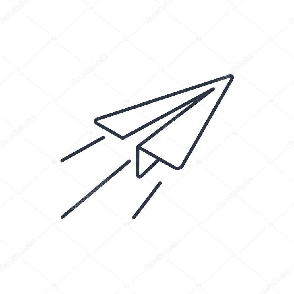 Paper Plane Sign Airplane Symbol Travel Outline Icon Stock