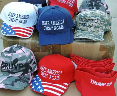 Make America Great Again Ball Caps for sale at President Trump Rally.