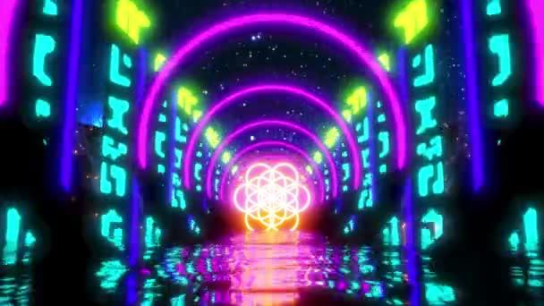 Absztrakt Flower of Life Sci-fi River Neon Lights Mozgásmentes hurok VJ Absztrakt pihenés Zene Videó Háttér Univerzum Éjszakai égbolt Kiváló minőség