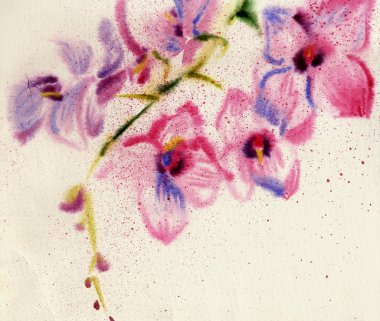 Watercolor flowers on old paper
