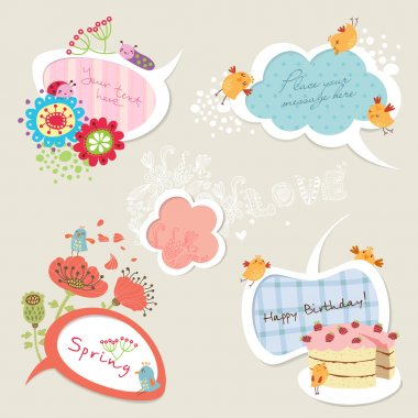 Speech bubbles set with funny birds and flowers stock vector