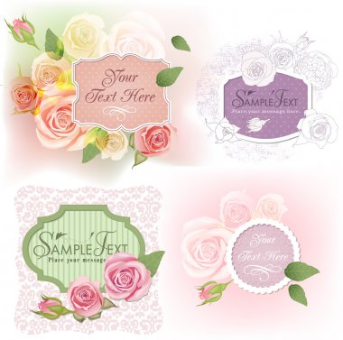 Greeting frames with roses