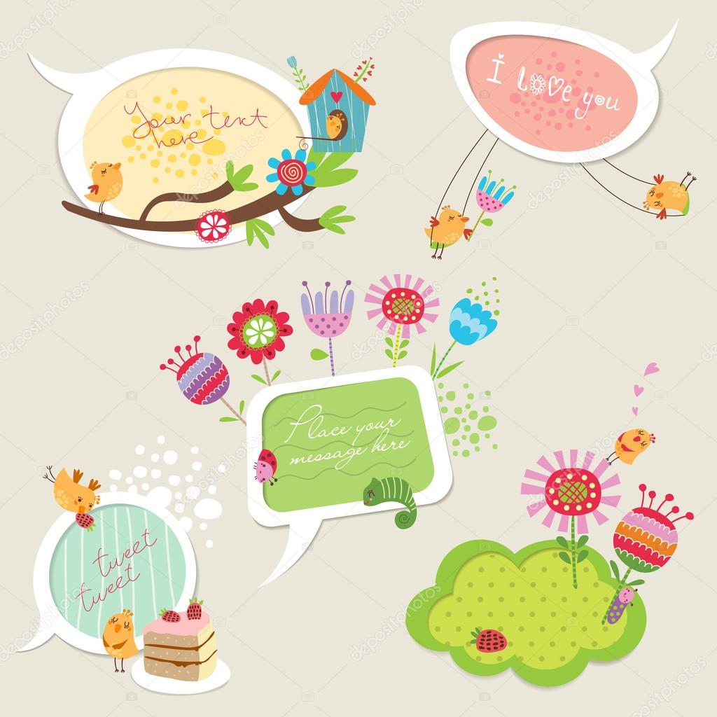 Speech bubbles with funny birds