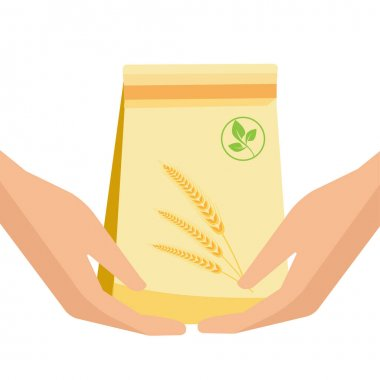 Packaging for products from recycled materials. Package in hand. Paper eco bag. Flat Vector illustration icon