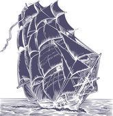 Stará loď plachty