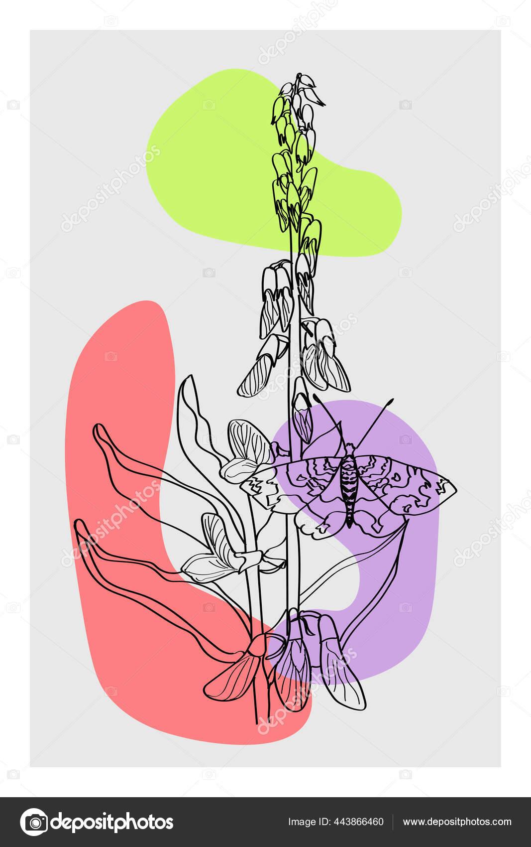 Abstract Floral Arrangement Geometric Elements Abstract Plant Art Design Cover Imagem Vetorial De C Yavorv 443866460