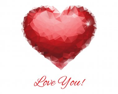 Red Ruby Heart With Sign Love You. Mosaic Polygonal Vector Illustration.